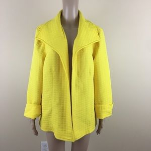 For Cynthia 2x Open Front Jacket Yellow Quilted